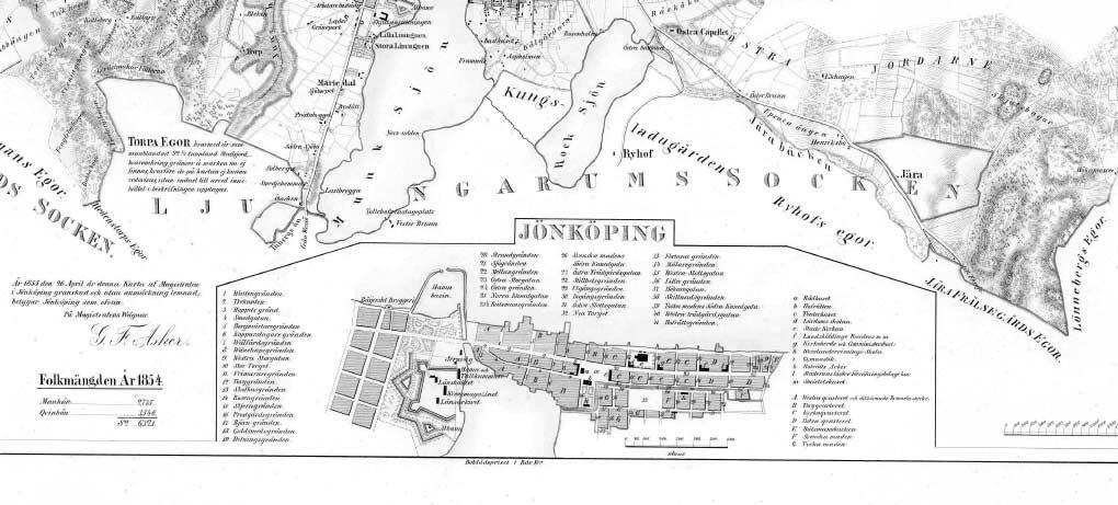 Del av karta över Jönköping 1854-55.